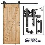 6.6ft Heavy Duty Sliding Barn Door Hardware Kit, 6.6ft Single Rail, Black, (Whole Set Includes 1x Pull Handle Set & 1x Floor Guide & 1x Latch Lock) Fit 36''-40'' Wide DoorPanel (Bigwheel Hanger)