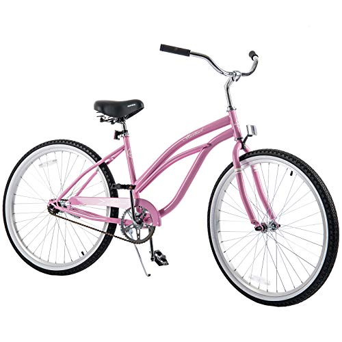 Murtisol Cruiser Bike 26'' Beach Bike Cruiser Bicycle City Bike Women's Bike Road Bike w/Single Speed,Steel Frame,Adjustable Seat,Pedal-Backwards Brake, Pink