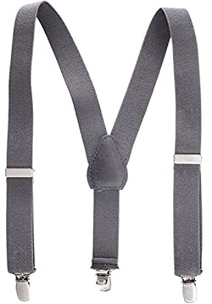 "Suspenders for Kids - 1 Inch Suspender Perfect for Tuxedo - Grey (22"")"