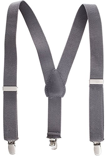 Suspenders for Kids - 1 Inch Suspender Perfect for Tuxedo -Grey (26