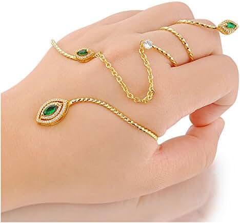 Dnswez Fashion Green Austrian Crystal Hand Cuff Link Spiral Ring for Women