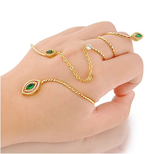 dnswez Unique Peacock Ring Green Rhinestone Crystal Palm Cuff Link Spiral Knuckle Handlet for Women Size: (Palm Womens Ring)