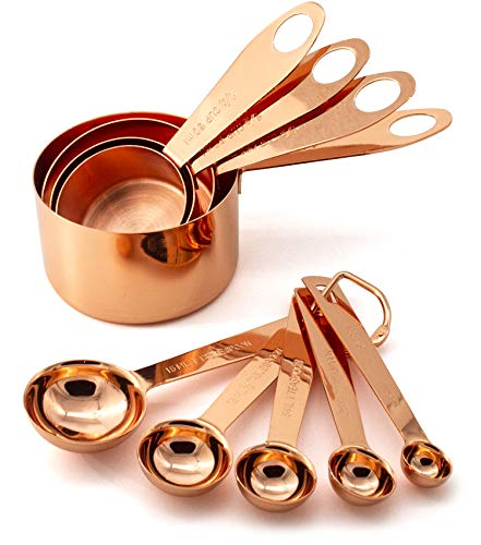 9 Piece Copper Stainless Steel Measuring Cups and Spoons Set with Engraved Measurements, Pouring Spouts & Mirror Polished for Dry, Liquid Ingredients, Cooking & Baking