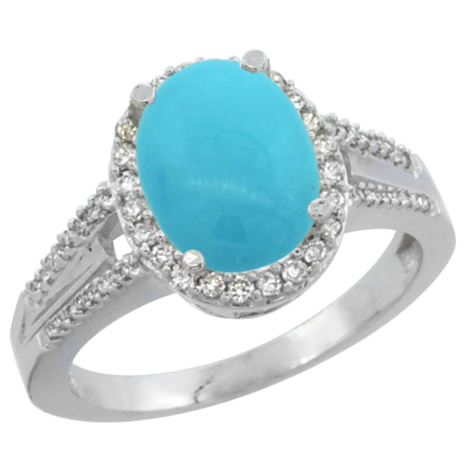 Top 14K White Gold Natural Diamond Sleeping Beauty Turquoise  XF81