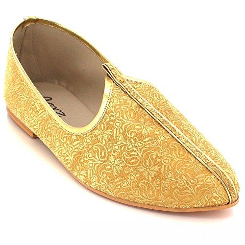 Pompes LONDON Jutti Glisser Mojari Main Taille Marié Sur Jeune Plates Mariage AARZ Hommes Ethnique Traditionnel Fait Indien Or Chaussures Khussa 7vpnwxdq