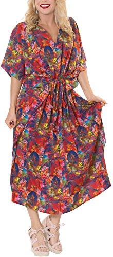 LA LEELA Trajes de baño del Traje de baño del Vestido caftán caftán Camisa de Dormir Aloha rayón Mano Maxi de Las Mujeres Multicolor_m626