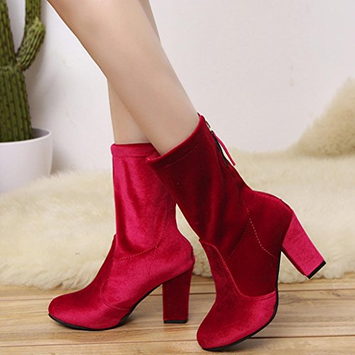 Buckle Faux Boots Warm Boots KaiCran High Martin Women Shoes Boots Winter Ankle Red Ladies Boots Heels 4qqxYTwX