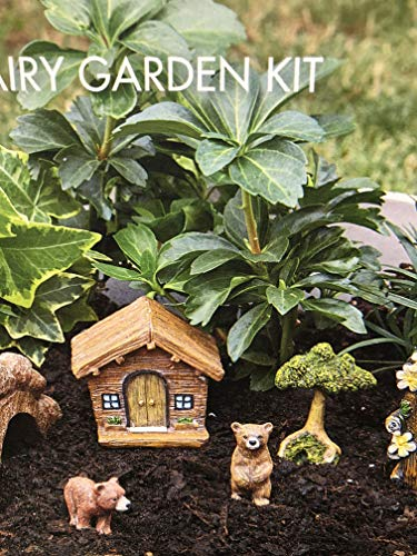 Set Fairy Garden (Essential Garden Fairy Garden Kit~ BABY BEARS & CABIN SET ~ 7 Pc Figure Set)