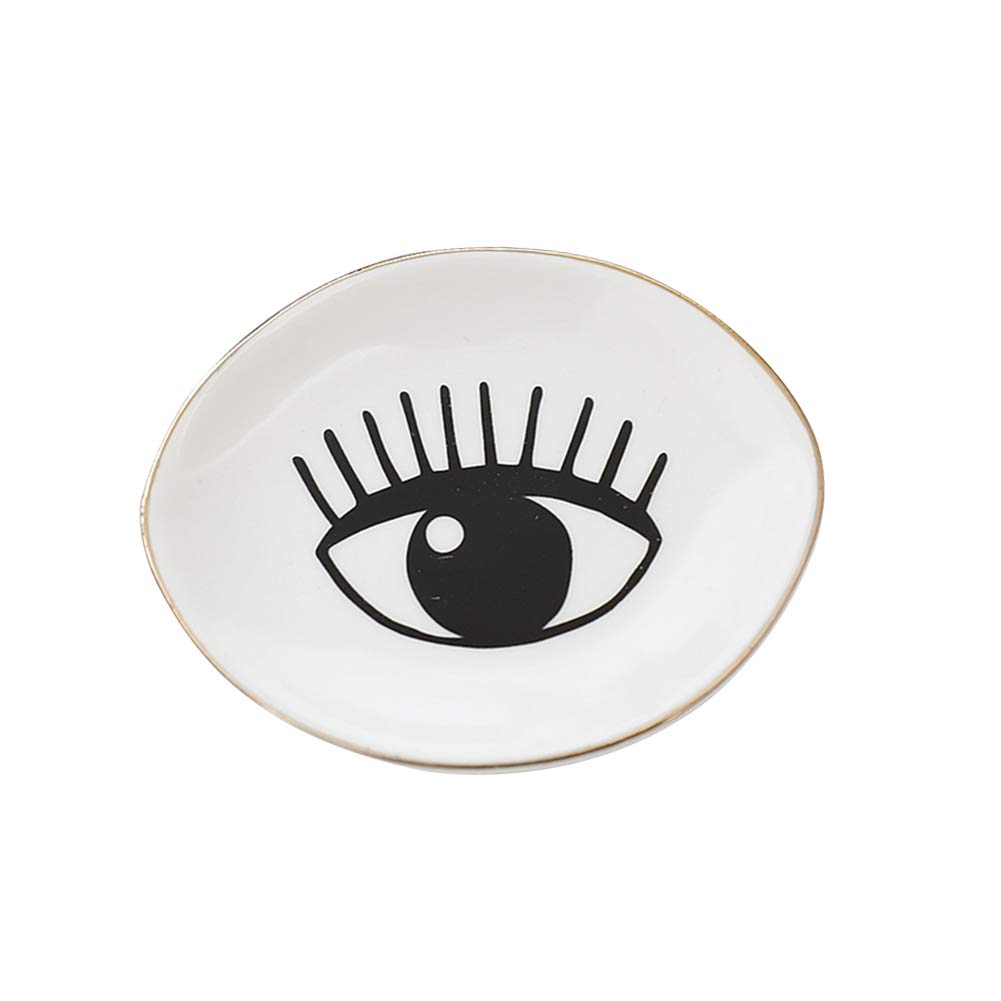 Whthteey Eye Ceramic Jewelry Dish Storage Tray Trinket Holder Wedding Gift Desk Organizer