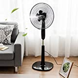 MD Group Pedestal Fan Oscillating 3 Speed Height Adjustable 16'' Black Double Blades Household Appliance