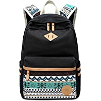 [Sponsored]LuckyZ Casual Canvas Backpack with Leather Daykpack School Bag Cute Printng Travel...