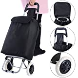 Black Large Capacity Light Weight Wheeled Shopping Trolley Push Cart Bag Waterproof Oxford Fabric Heavy Load Steel Frame Construction Easy Grab Handle Brand New