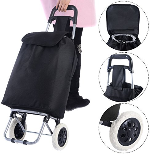 Black Large Capacity Light Weight Wheeled Shopping Trolley Push Cart Bag Waterproof Oxford Fabric Heavy Load Steel Frame Construction Easy Grab Handle Brand - For Online Shoping India