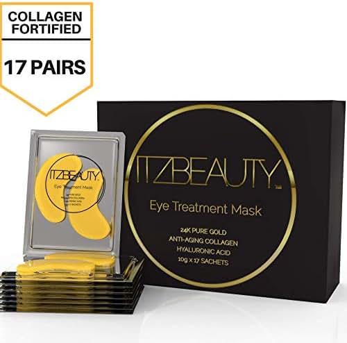 Luxury 24K Gold Eye Masks | Seaweed, Real Gold Particles, Aloe Leaf Juice, Collagen, Hyaluronic Acid | Luxury Anti-Aging Eye Treatment for Eye Wrinkles, Puffy Eyes, Dark Circles
