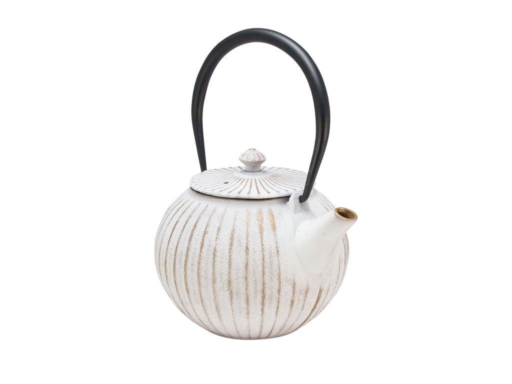 KAMACA - Asiatische Teekanne aus Guss / Gusseisen - Japanischer Stil - emaillierte Innenseite und Edelstahl - Tee - Brüheinheit sorgt für perfektes Aroma Ihres Tees - optimale Wärmeverteilung - hält den Tee sehr lange warm - hochwertig und langlebig, hier