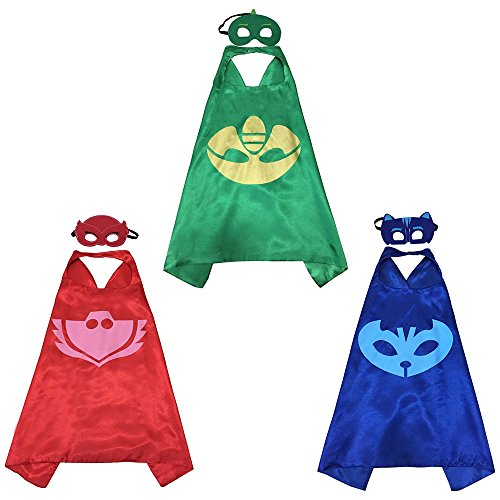 Cape Costumes Set (PJ Mask Super Team Kids Cape and Mask Costumes, 3-Set Gekko, Catboy and Owlette Costume Party Set, Superhero Party Favors)