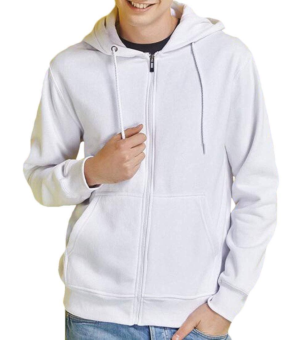 Domple Mens Casual Active Zipper Fleece Thick Hoodies Workout Sweatshirt Jackets