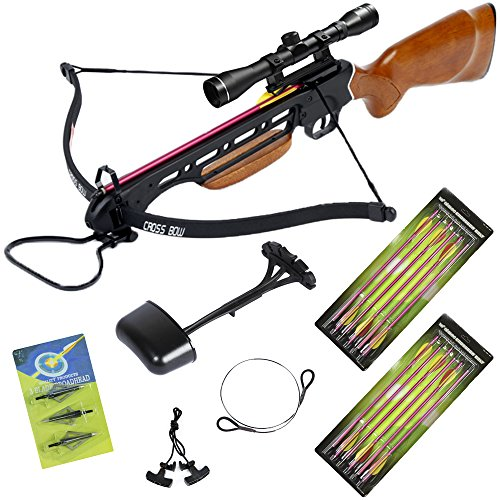 150 lb Wood Hunting Crossbow Bow +4x32 Scope +14 Arrows +Quiver +3 Broadheads +Rope Cocking Device +Stringer 180 80 lbs