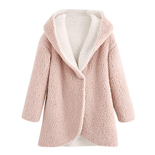 Sinfu Women's Winter Curved Hem Longline Faux Fur Sherpa Fleece Hoodie Coat (XL, Pink) (Dog Powder Jacket)