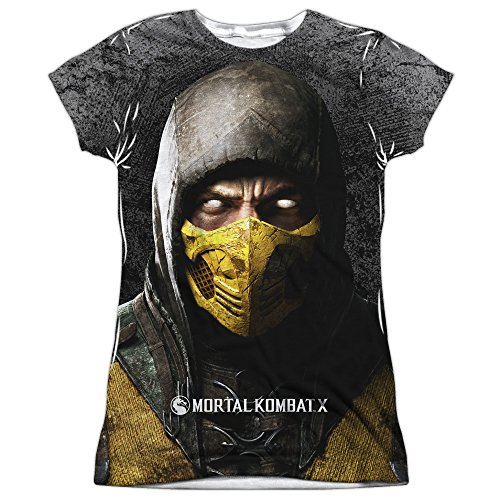 Mortal Kombat X Fighting Video Game Scorpion Poster Junior Front Print T-Shirt T (Women Of Mortal Kombat)