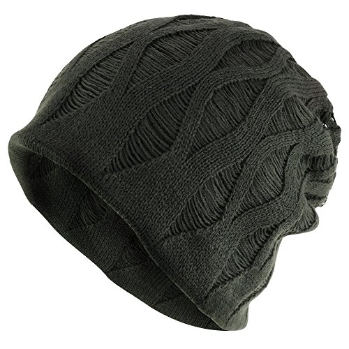 Rasta Deep Crown Acrylic Distressed Reversible Slouchy Warm Beanie Hat - OLIVE
