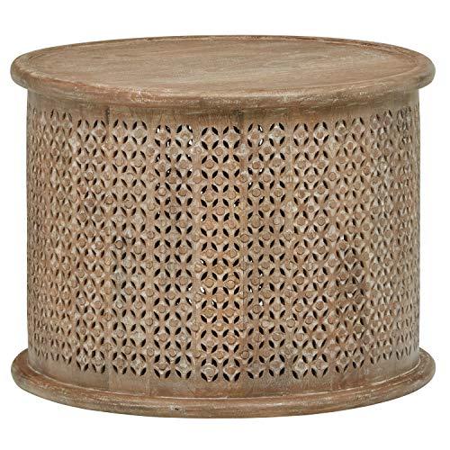 Stone Beam Commodore Casual Round Coffee Table, 23.6 W, Whitewash Mango Wood