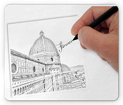 Lunarable Florence Mouse Pad, Drawing Image of Italian Landmark Building Architectural Sketch, Standard Size Rectangle Non-Slip Rubber Mousepad, Charcoal Grey White Pale Rust
