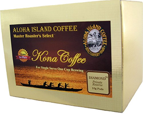Senseo Pods of 100% Pure Kona Coffee, Private Reserve Diamond, Custom Medium Roast, 18 Pods, Reusable Pod Adapter Is Available for K-cup Brewing Systems