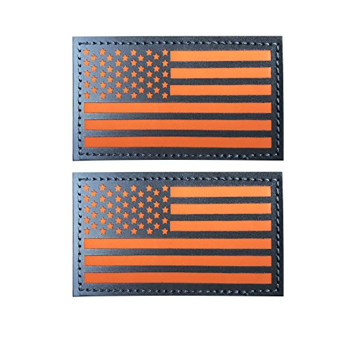 2 x3.5 Reflective Orange USA Flag Glow in The Dark Patch Hook and Loop Fasteners Backing (Orange, 2 Pack)