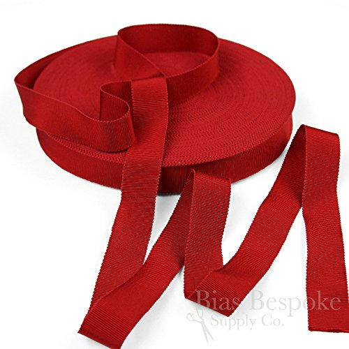 3 Yards of Vera 1'' Cotton & Viscose Petersham Grosgrain Ribbon, Ruby Red, Made in Italy