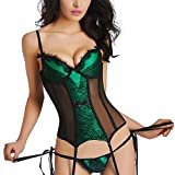 Topmelon Women's Bustier Corset Sexy Girdle Waist Cincher with Garter Belt,green,S