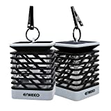 ENKEEO 2 Pack Candle Lantern with Flameless Flickering LED Candle, Power by Solar Panel, Waterproof IP55 and Decorative Light Design for Garden Restaurant Coffee Shops Driveway Deck - Gray Black