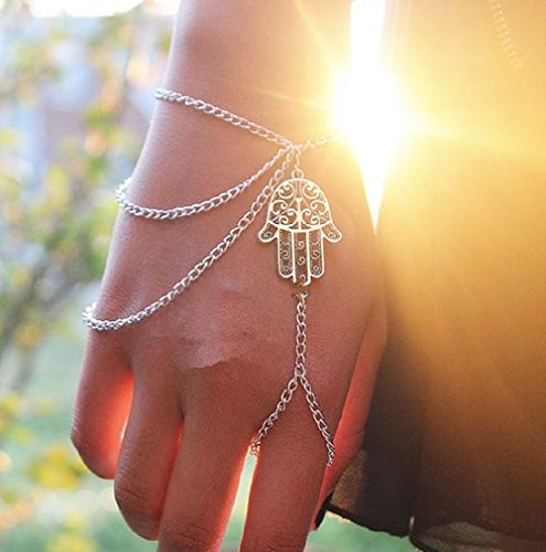 PearlPlus Fashion Hamsa Silver Fatima Hhand Shape Link Chain Interweave Ring and Bracelet Attached for Women