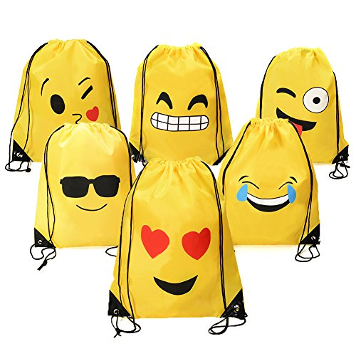 Emoji Drawstring Backpack Bags by Emorefun, 6 Pack Assorted Emoticon Bags Cute Designs Party Favors Supplies Christmas Gifts for Kids Teens Girls Boys