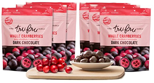 Tru Fru Dark Chocolate Dipped Freeze-Dried Whole Cranberries (3.2oz),6-Pack Case by Tru Fru