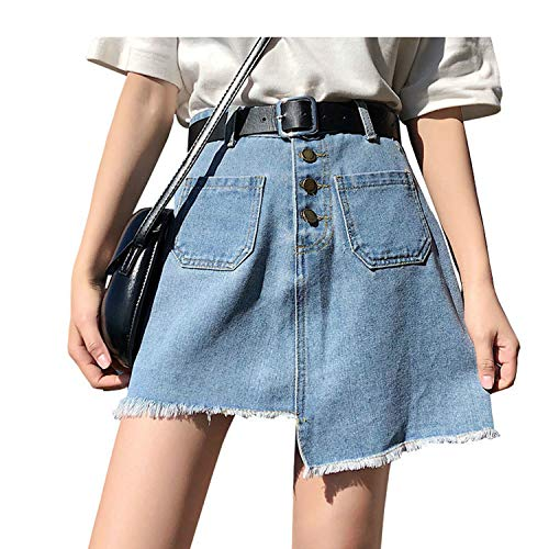 (Sexy Denim Skirt Women Plus Size Summer Skirts Womens Casual Black Mini Jeans Skirt Female Vintage Jupe Fashion New Blue S)