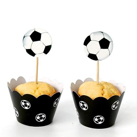 Ruby569y - Decoración para Tarta de cumpleaños, decoración de Tartas, 24 Piezas de decoración para Tarta de fútbol, Football