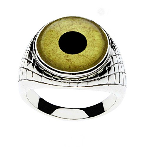 Steel Dragon Men's Eagle Glass Eye Ring with an Egyptian Inspired Setting Jewelry(Eagle, 12)