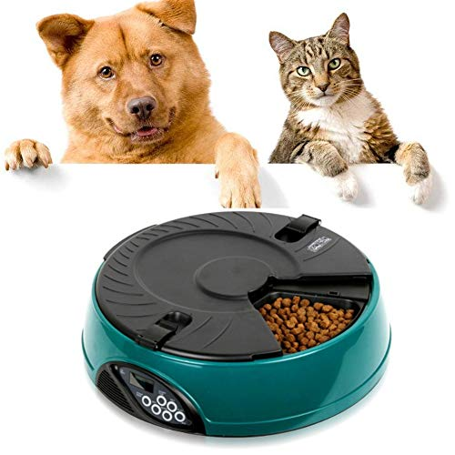 Nwayd Suitable for Small and Medium-Sized Pets to Automatically Feed Cats and Dogs, Food dispensers, can be preset 6 Times, Each time Feeding 330ml, a Total of 6 Meals: 1980ml