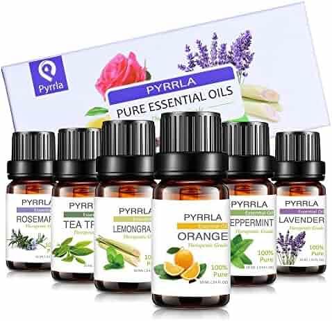 Essential Oils set Gift 6/10ml, Aromatherapy essential oil Basic Sampler Gift Set & Kit (Orange,Lavender,Tea Tree,Peppermint,Lemongrass,Rosemary)