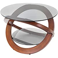 WOYBR TB-SW Bent Wood, Glass Linx Coffee Table, Wenge