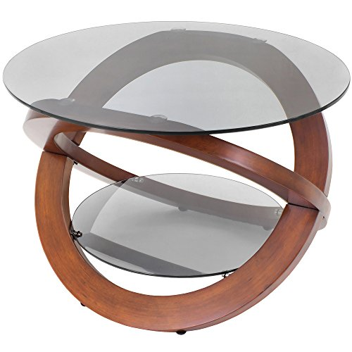 Wenge Cocktail Table (WOYBR TB-SW Bent Wood, Glass Linx Coffee Table, Wenge)