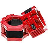 REEHUT 2' Pair Quick Release Olympic Barbell Clamp Locking Collar with Carrying Case - Workout Pro Secure Snap Latch for Squat Weightlifting/Powerlifting Training (Red)