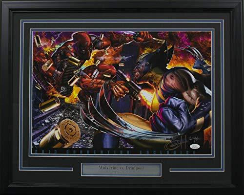 Wolverine vs Deadpool Framed 13x19 Ltd Ed Lithograph Signed By Greg Horn - JSA Certified