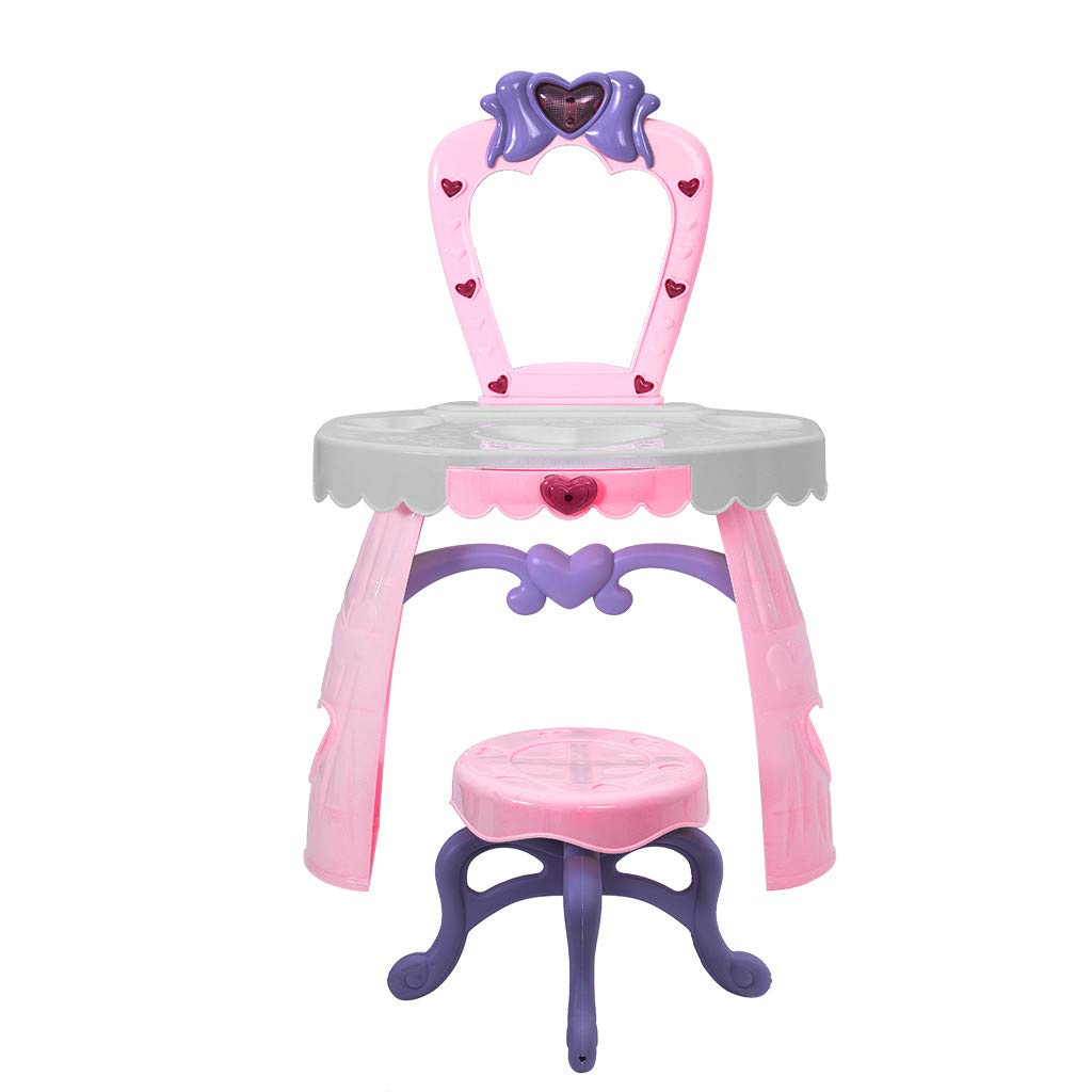 JinJin Dresser Table For Girls Fantasy Vanity Beauty Fashion & Makeup Accessories For Girls Vanity Table with Flip Top Mirror Makeup Dressing Table Writing Desk with Cushioning Makeup Stool Set (Pink)