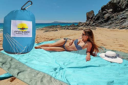 Oversized 10 x 9 feet Sand-Proof Beach Blanket and Beach Mat, for Outdoor Picnics, Camping, Hiking, Travel, and Festivals Sand-Free, Durable and Quick-dry Premium Quality Parachute Nylon