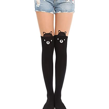 0eeaf84763b Kawaii Tights Cat Stockings Pantyhose Cartoon Bunny Socks Women Girls Cute  Animal Mock Knee Nude High