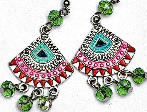 Funky Painted Hippie Boho Chandelier Earrings with Dangling Glass Crystal Beads Bohemian Jewelry -