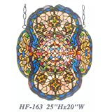 HF-163 Vintage Tiffany Style Stained Church Art Glass Decorative Elegant Baroque Window Hanging Glass Panel Suncatcher, 25''x20''