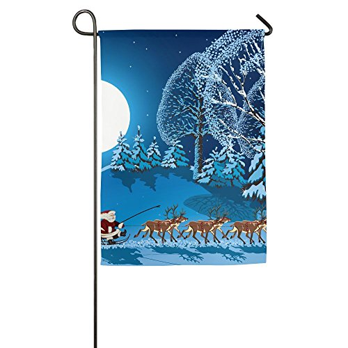 Collection Full Sleigh - Hexu Collection Santa In Sleigh A Holy Night With Full Moon Snowy Winter Theme Night Before Xmas Family Garden House Home Demonstration Decorative Flag 1218inch